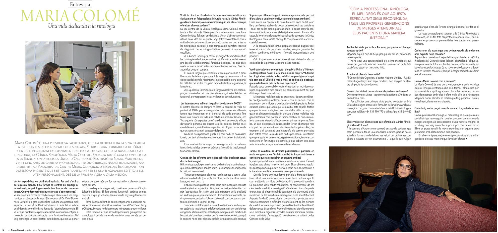 Clínica Rinològica Maria Colomé - Notícies 12 Donna Secret