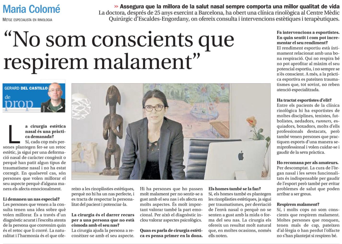 Clínica Rinològica Maria Colomé - Notícies 4 Andorra